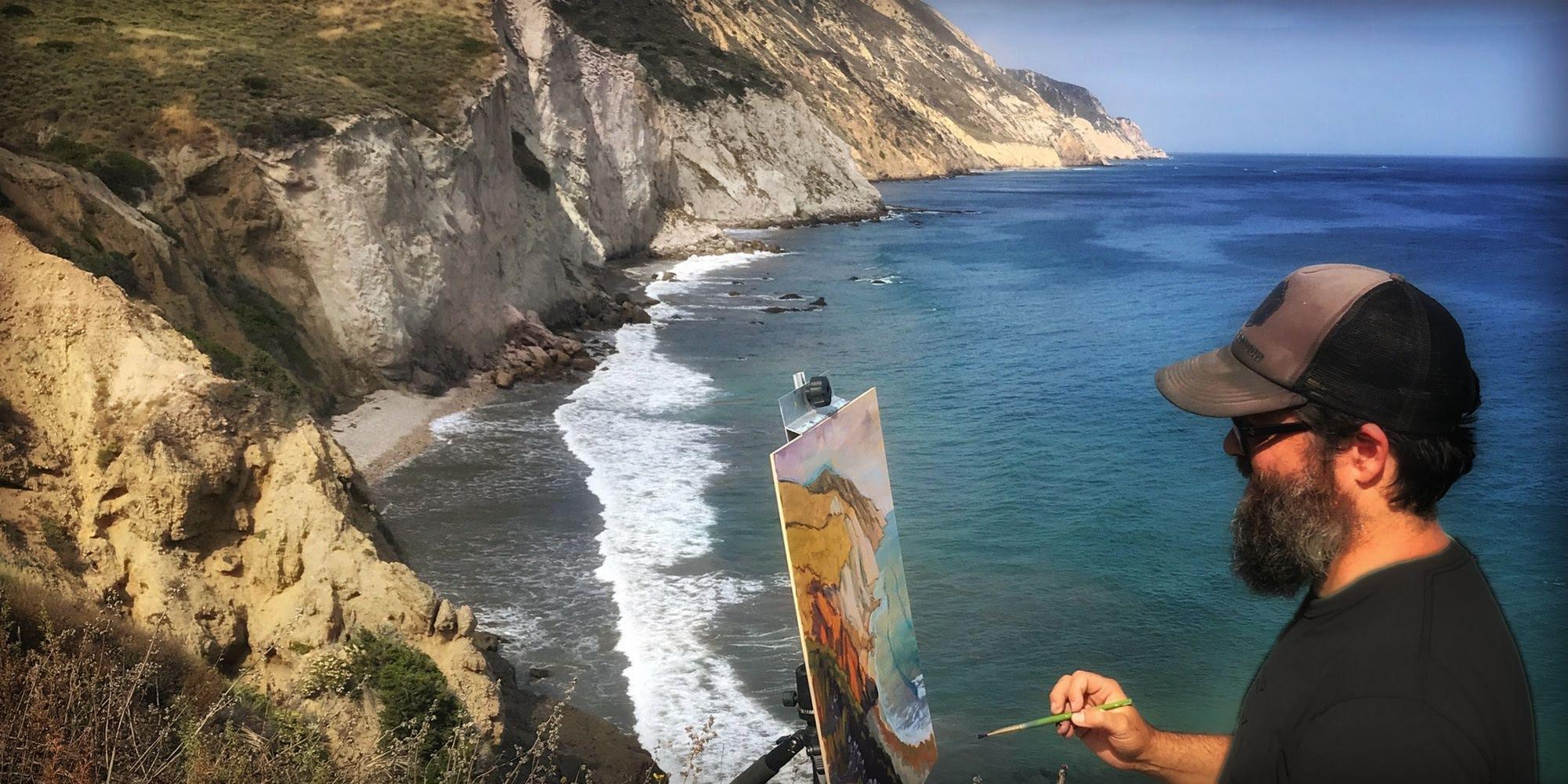 Artist Matt Beard painting plein air in the Channel Islands off the coast of California