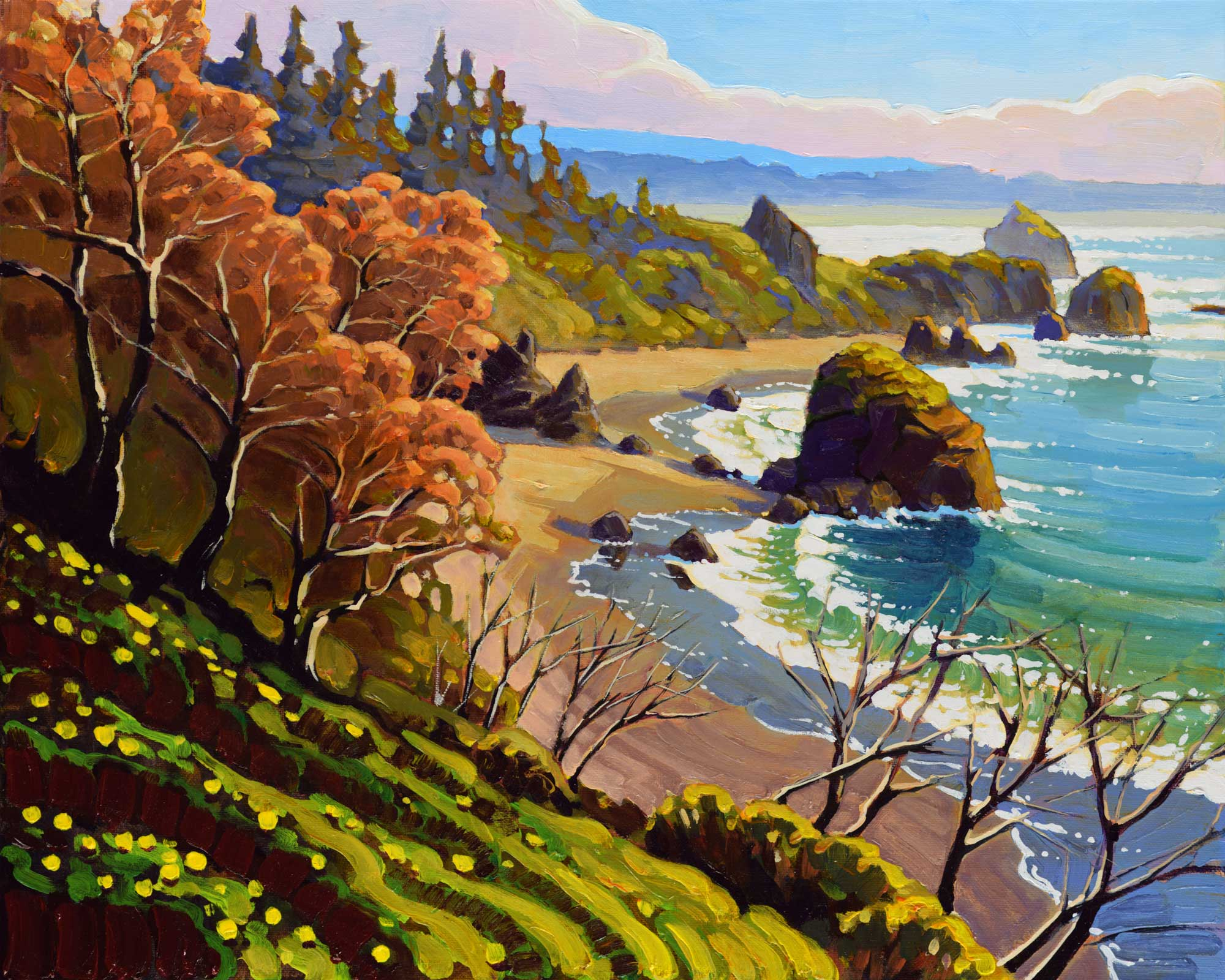 A plein air painting of Luffenholtz beach from Scenic Drive on Humboldt County's Trinidad coast in northern California