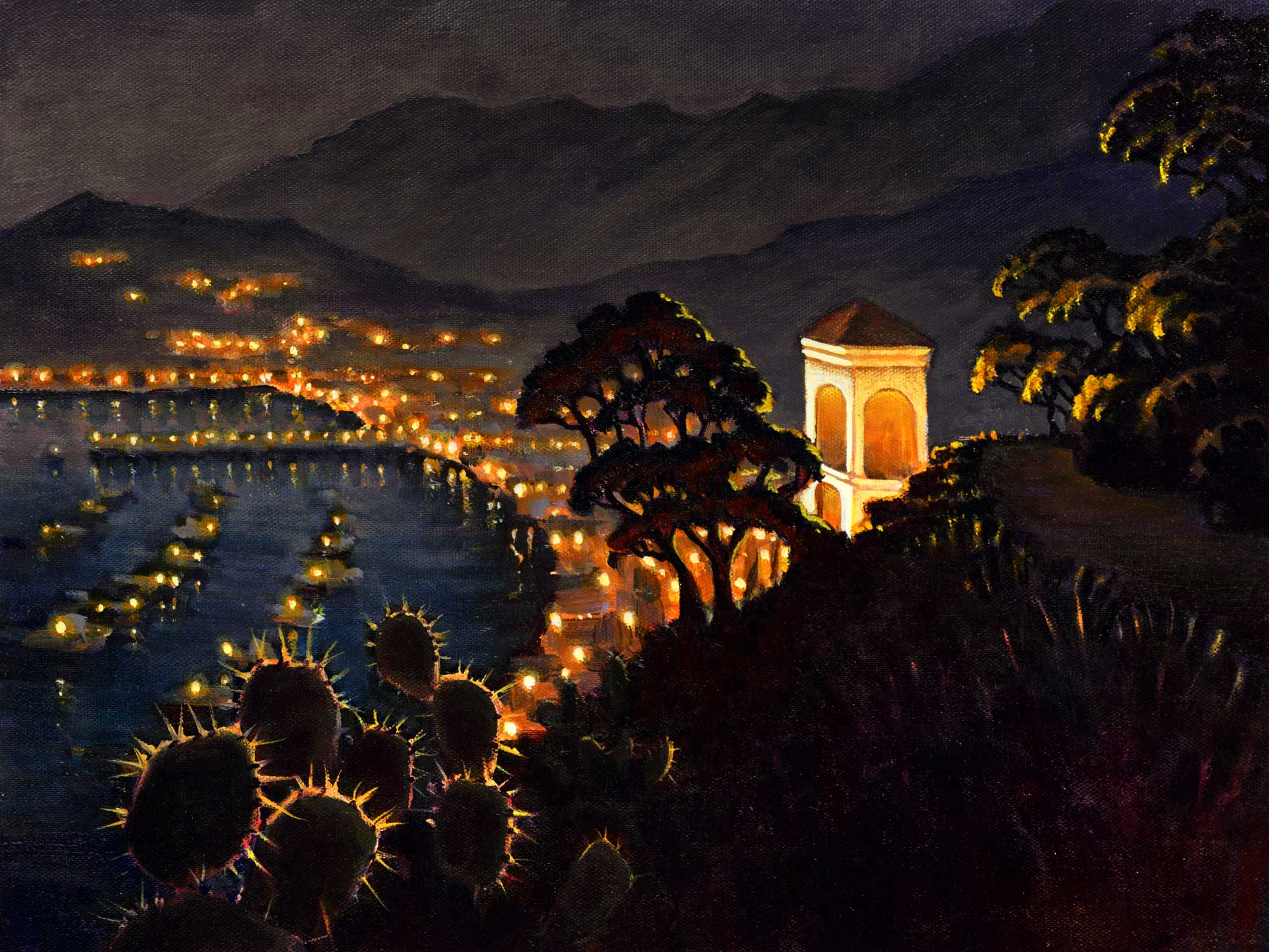 A plein air painting of the Chimes Tower overlooking Avalon Harbor on Catalina island off the coast of southern California