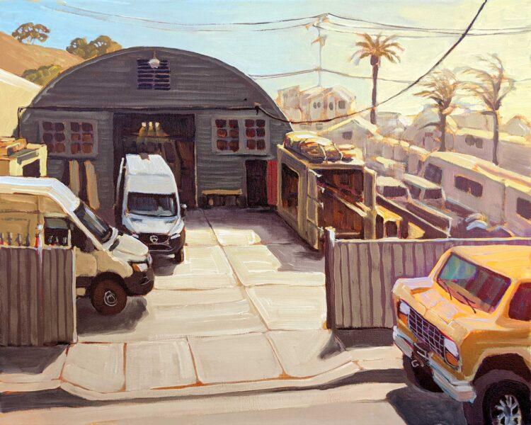 A plein air painting of Atlas Vans workshop in Ventura