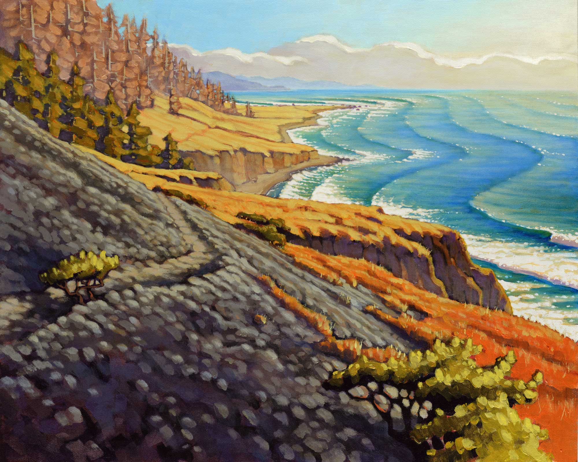 A plein air landscape painting of a trail crossing a landslide on a remote and rugged coast in northern California