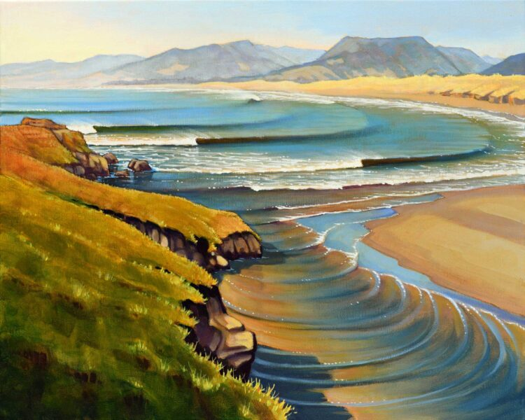 A painting of the Garcia Rivermouth near the Point Arena lighthouse on the Mendocino coast of northern California