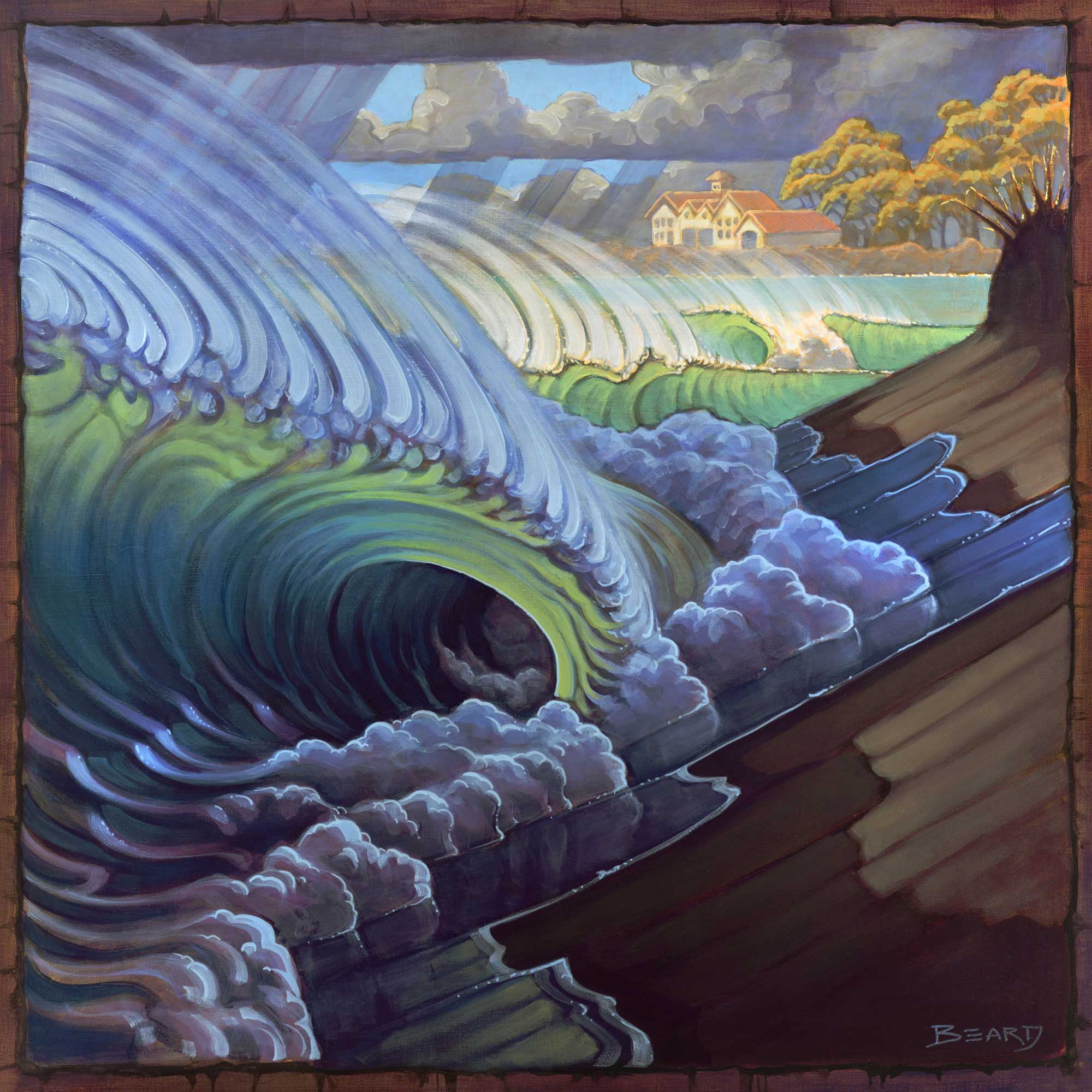 Stylized painting of waves breaking on a steep beach during a storm on the northern California coast