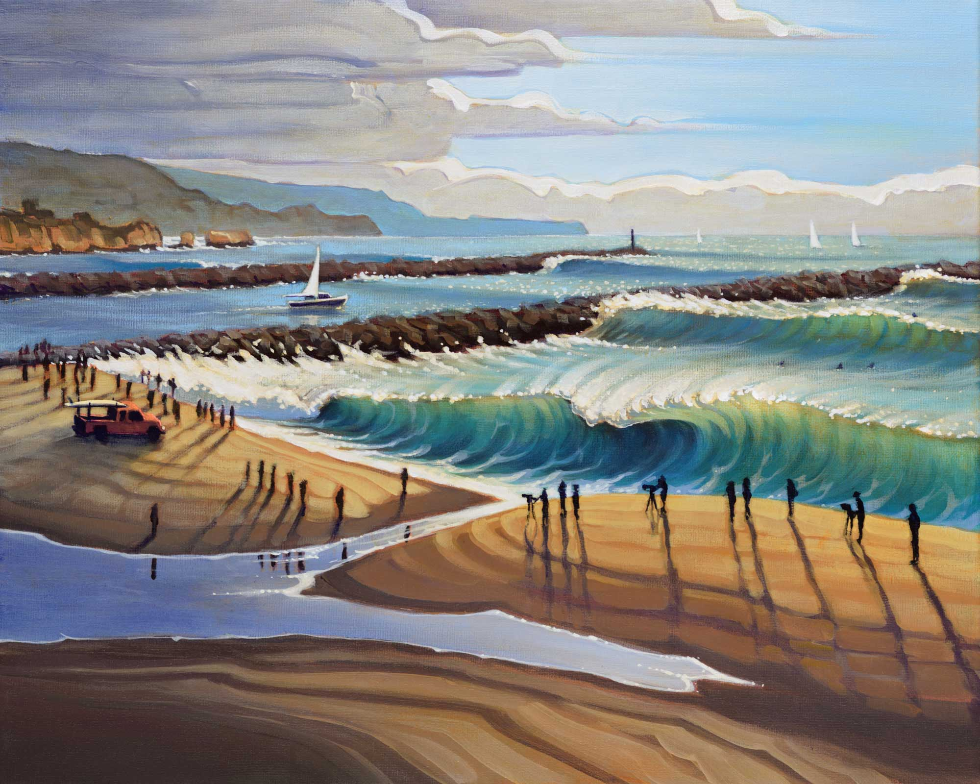 Plein air landscape painting of the Wedge in Newport beach in Orange County on the southern California coast